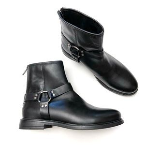 Avellini Leather Harness Moto Biker Ankle Boots 39
